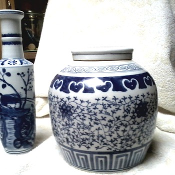 Chinese Porcelain Ginger Jar with Lid and Tall Rouleau Vase / Real or Real Reproductions ?? - Asian