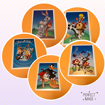 All 5 Looney Tunes Picture Postal Cards - Postcards