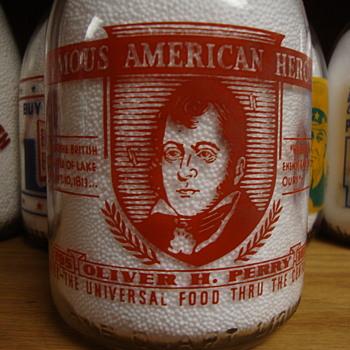 "FAMOUS AMERICAN HEROES ""OLIVER PERRY"" QUART MILK BOTTLE............ - Bottles"