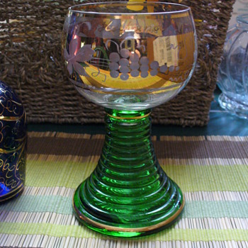 Gold and Green Chalice - Glassware