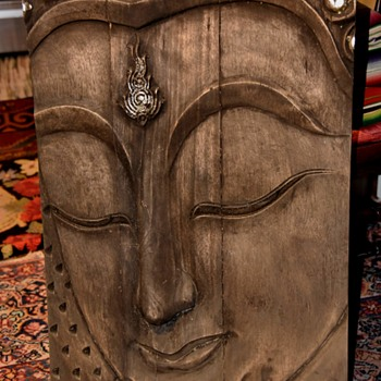 Carved Wood Buddha Face - for the garden! - Folk Art