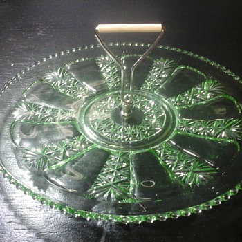 Uranium Glass Serving Tray  - Glassware