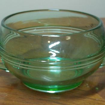 Uranium Glass Sugar Bowl - Glassware