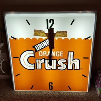Orange Crush Light Up Advertisement Clock - Advertising