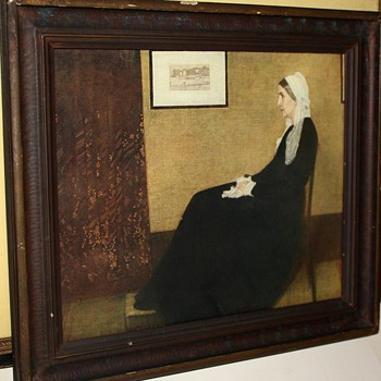 Framed Print of Whistler's Mother from the 1920s and an etching by Rudolf Dogge
