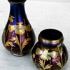 Two Lötz vases Rubin Matt Iris with decor 1/580, 1900.