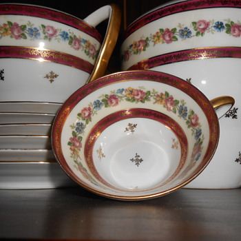 This tea set is so fine if you hold the cups to the light you can kind of see through it , it is exquisitely painted .  - China and Dinnerware