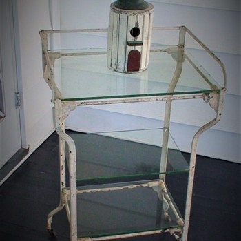 Early 20th Century Original Medical Three-Tier Mobile Hospital Operating Room Work Stand  - Furniture