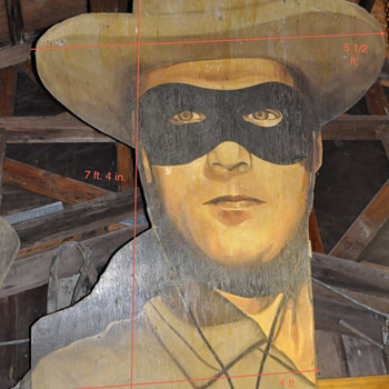 7 1/2 ft  LONE RANGER wood MOVIE BILLBOARD ? s