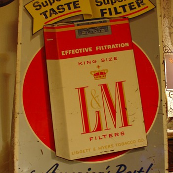 L & M Cigarettes...Embossed Tin Sign - Signs