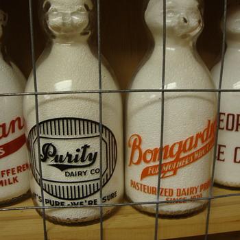 PURITY DAIRY (STEUBENVILLE OHIO) & BOMGARDNER DAIRY (PALMYRA PENNSYLVANIA) BABY TOP MILK BOTTLES - Bottles