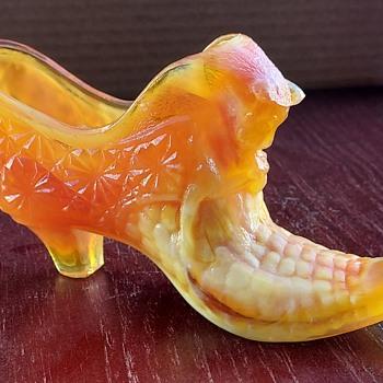 Boyd Sunkist Carnival slag glass shoe - Art Glass