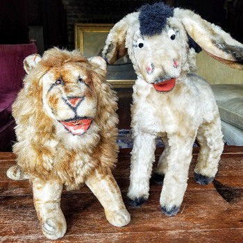 Vintage Mohair Stuffed Donkey and Lion, Unknown Maker and Period - Animals