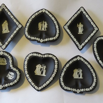 Wedgwood Jasperware Card Suit Pin Dishes / Trays - Hearts, Clubs, Spades and Diamonds - China and Dinnerware