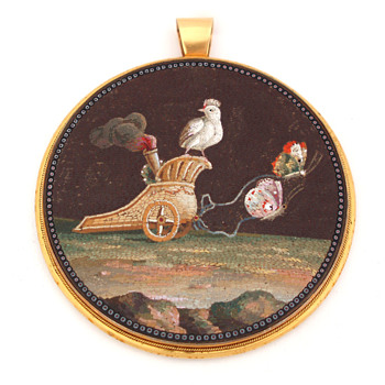 Micromosaic Chariot Pulled by Butterflies, circa 1800 - Fine Jewelry