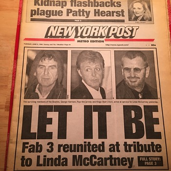 New York Post-June 9, 1998-Beatles Reunion - Music Memorabilia