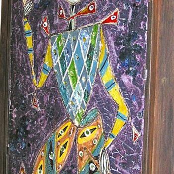 "Ceramic mural of a ""Jester"""