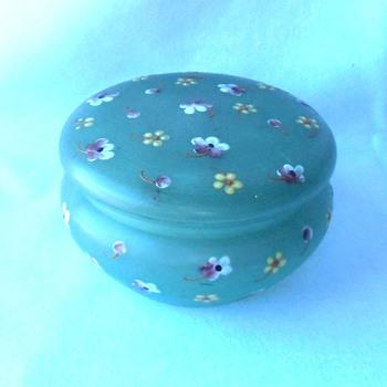 The Sweetest Enamel Flower Green Satin Glass Vanity Box Signed Czech - Art Glass