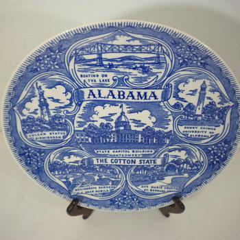 Vernon Kilns Unmarked Commemorative 9.5 Inch Alabama Plate? - China and Dinnerware