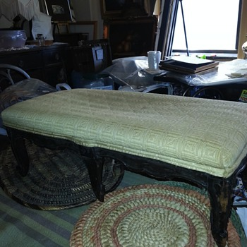 Antique Miniature Upholstered Bench - Furniture