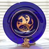 St George & dragon KJL necklace,  Kosta Boda cobalt glass plate