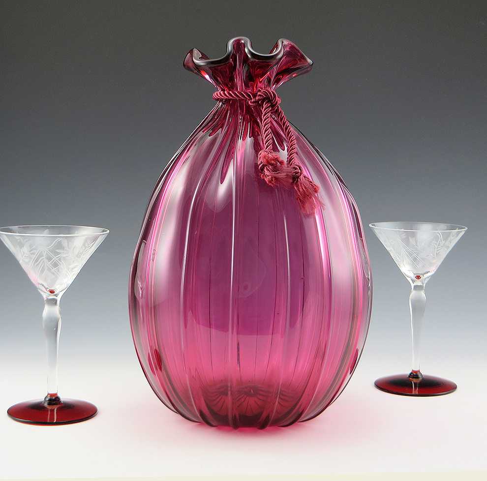 Large Vintage Cranberry Glass Bag Vase by Pilgrim Art Glass, USA    Collectors Weekly