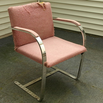 Solid Stainless Steel Mid Century Modern Chair w/ Upholstered Seat - Furniture
