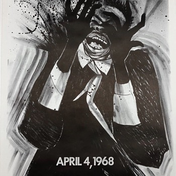 Vintage 1968 Poster Protesting the Killing of Martin Luther King.  - Politics