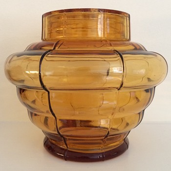 Czecoslov marked Amber glass vase with frog - Art Glass