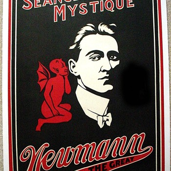 "Original 1920 Newmann The Great ""Seance Mystique"" Stone Lithograph Poster - Posters and Prints"