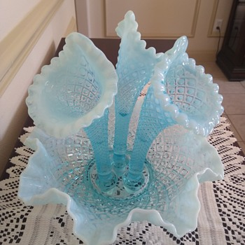 Fenton Diamond Lace Blue Opalescent 3 Horn Epergne - Glassware