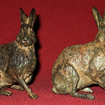 Pierre Chenet Pair of Bronze Hares - Animals