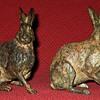 Pierre Chenet Pair of Bronze Hares