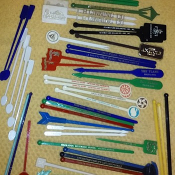 another handful of vintage plastic swizzle sticks - Advertising