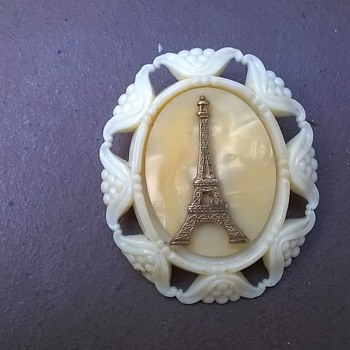 Eifel Tower Souvenir Brooch  - Costume Jewelry
