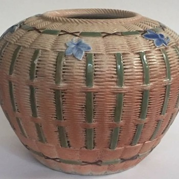 "Antique Pottery Pot with Basket and Leaf Design~Japanese/Native American Motif?~10.25dia X 7.75"" h - Pottery"
