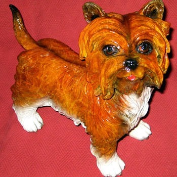 "Enamel Painted Bronze Yorkshire ""Yorkie"" Terrier Sculpture By Jules Moigniez - Animals"