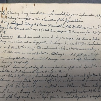 Japanese Soilder Diary from the 43- hospital unit SAIPAN  JUNE 11-1944