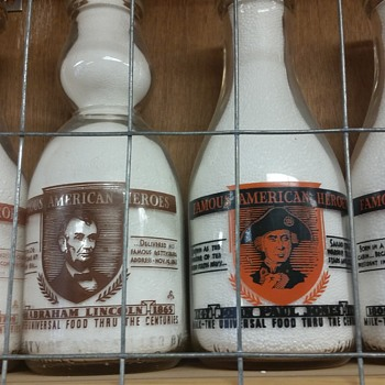 "Milk Bottles With ""Famous American Heroes"" designs..... - Bottles"