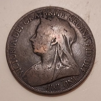 1901 Queen Victoria large One Penny - World Coins