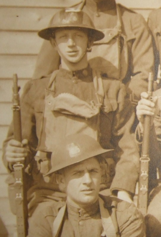 WW1 Doughboys with camo and insignia painted helmets