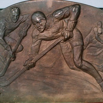1920's 30's Bronze Hockey Pattern to make School College Plaques - Hockey