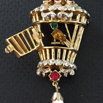 Coro Bird Cage Brooch from 1950  - Costume Jewelry