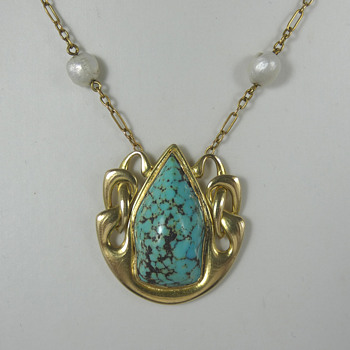 15ct Gold and Turquoise Necklace by Archibald Knox for Liberty & Co - Fine Jewelry