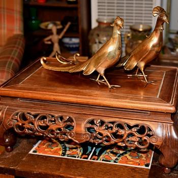 Large Pair of Gilded Metal Pheasant - Animals