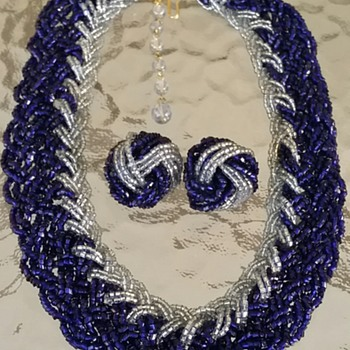 Blue glass beaded necklace & earrings - Costume Jewelry