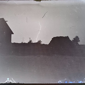 Antique Late 19th Century/Early 20th Century Lightning Photograph Glass Negative  - Photographs