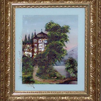 1894 German Painting with Mother-of-Pearl inlay - Folk Art