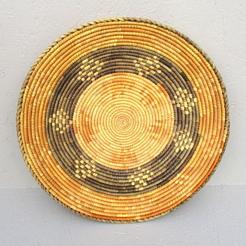 Woven coil Basket Tray with Tribal Design