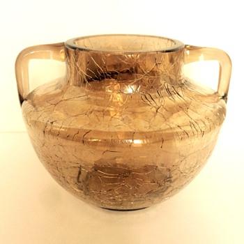 Fritz Heckert 2-handled Craquele Vase - Art Glass